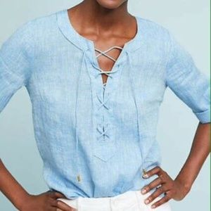 Anthropologie Maeve Marva Lace front linen blouse